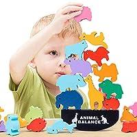 YGJT Holzspielzeug für Jungen und Mädchen ab 3 Jahre | Montessori Motorik Stapelspiel für Kinder als Geschenk | 12 Stücke Waldtiere Klötzchenturm