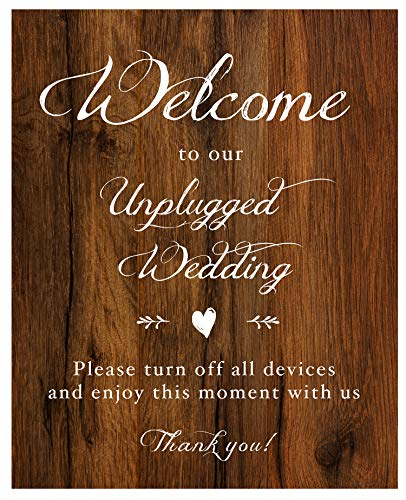 2 City Geese Unplugged Wedding Sign for Wedding Ceremony | Rustic Wood Look On Linen Textured Thick Cardstock Paper (1) 8x10 Sign | Wedding Decoration