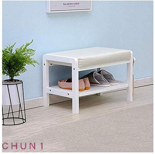 Storage Bench, Removable Cotton Linen Cover Solid Wood Shoe Rack Foyer Change Shoe Bench Assembly 108 (Size : White)