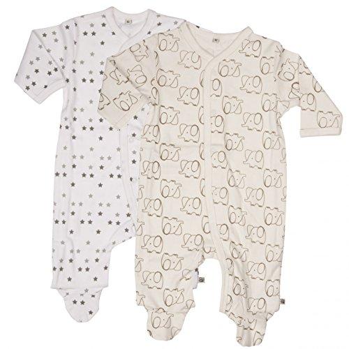 Pippi Pippi 2er Pack Baby Unisex Schlafstrampler mit Aufdruck, Langarm mit Füßen, Alter 6-9 Monate, Größe: 74, Farbe: Weiß, 3821