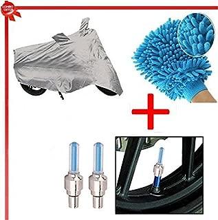 Benjoy Bike Body Cover Silver+Tyre Led Light Blue+Bike Cleaning Gloves for Bajaj Pulsar 220 DTS-i