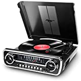 ION Audio Mustang LP - 4-in-1 Vinyl Record Player / Turntable with Built In Speakers, Plus a Radio, USB Playback and Aux Input - Black Finish