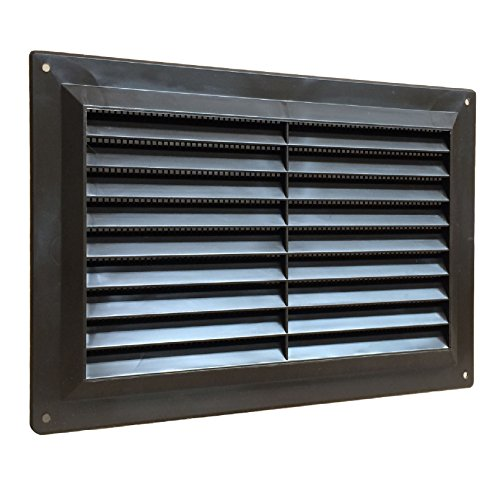 9' x 6' Brown Plastic Louvre Air Vent Grille with Flyscreen Cover
