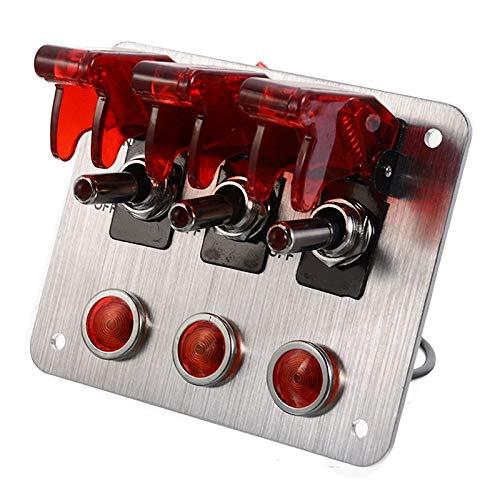 HKRSTSXJ Interruptor de 12V 20A Automotive Aluminio Universal 3 Alternar Luces del Panel LED Rojo Compatible with Coches Camiones Barcos Interruptor de Remolque
