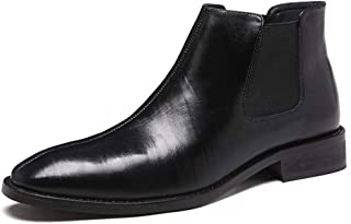ZHANGLEI Chelsea Boots for Men Ankle Boot Pull on Genuine Leather Pointed Toe 3cm Heel Elastic Sides Patent Leather (Fleece Inside Optional) (Color : Black(Fleece Inside), Size : 6 UK)