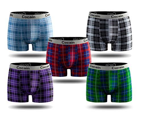 Cocain underwear 5 Stück modische Enge Karierte Boxer Boxershorts farbige Unterhosen Karo Gr. M Farben gemischt Baumwolle Männer Boxers Unterhosen männer Eng anliegend