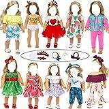 H.aetn 10 Juegos de Ropa y Accesorios para muñecas de Moda Disfraz de muñeca Ropa Informal Vestido de Princesa para muñeca de 18 Pulgadas (sin Zapatos) (Juego B)
