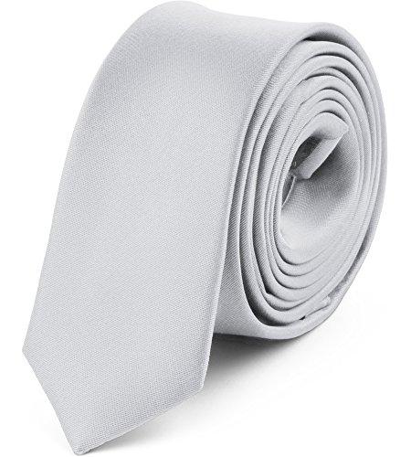 Ladeheid Herren Schmale Krawatte SP-5 (150cm x 5cm, Platin)