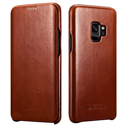 ICARER Galaxy S9 Ledertasche Hülle, Echt Leder Vintage Tasche Slim und Lightweight Luxus Echtleder Backcover Handytasche Leder Hülle Case für Samsung Galaxy S9 5,8 Zoll (Braun)