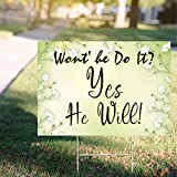 rfy9u7 Yard Sign Lawn Signage with Metal Stake, Won't He Do It? Inspirational Signs Christian Yard Signs - Water Resistant Outdoor Party Yard Sign 18'X 24'