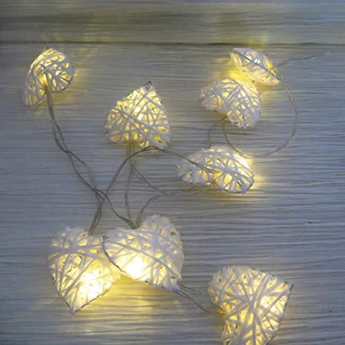 bizofft Cadena de luz de ratán, luz de ratán, 2.8 * 2.8 Pulgadas, lámpara de decoración de ratán con Forma de corazón, para Fiesta en casa