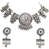 Total Fashion Oxidised Silver Afghani Necklace Choker Jewellery Set for Girls & Women