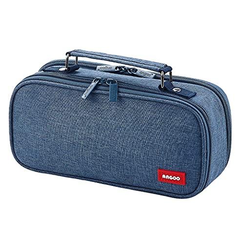 WSYGHP Bolsa para bolígrafos de gran capacidad, multifuncional, portátil, bolsa de papelería multicompartimento, bolsa de papelería, caja de lápices (color: azul)