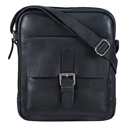 STILORD 'Luan' Borsa a tracolla uomo piccola in pelle vintage Borsello in cuoio per Tablet 10.1 pollici Borsetta donna, Colore:nero