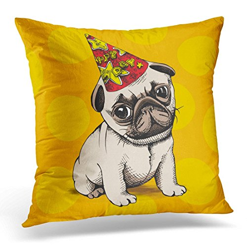 Hangdachang Decorative Pillow Cover Brown Birthday Puppy Pug in Party Hat on Yellow Dog Throw Pillow Case Sofa Home Decor Pillowcase 45x45 cmes