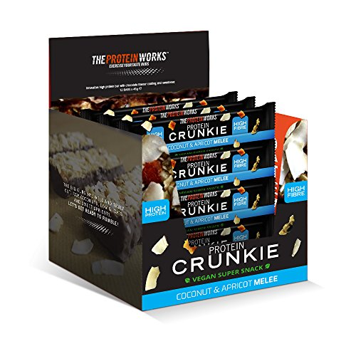 THE PROTEIN WORKS Vegan Crunkies Protein Bars | 100% Plant Based Snack | Energy Source | High Fibre | Coconut & Apricot Melee | Box of 12