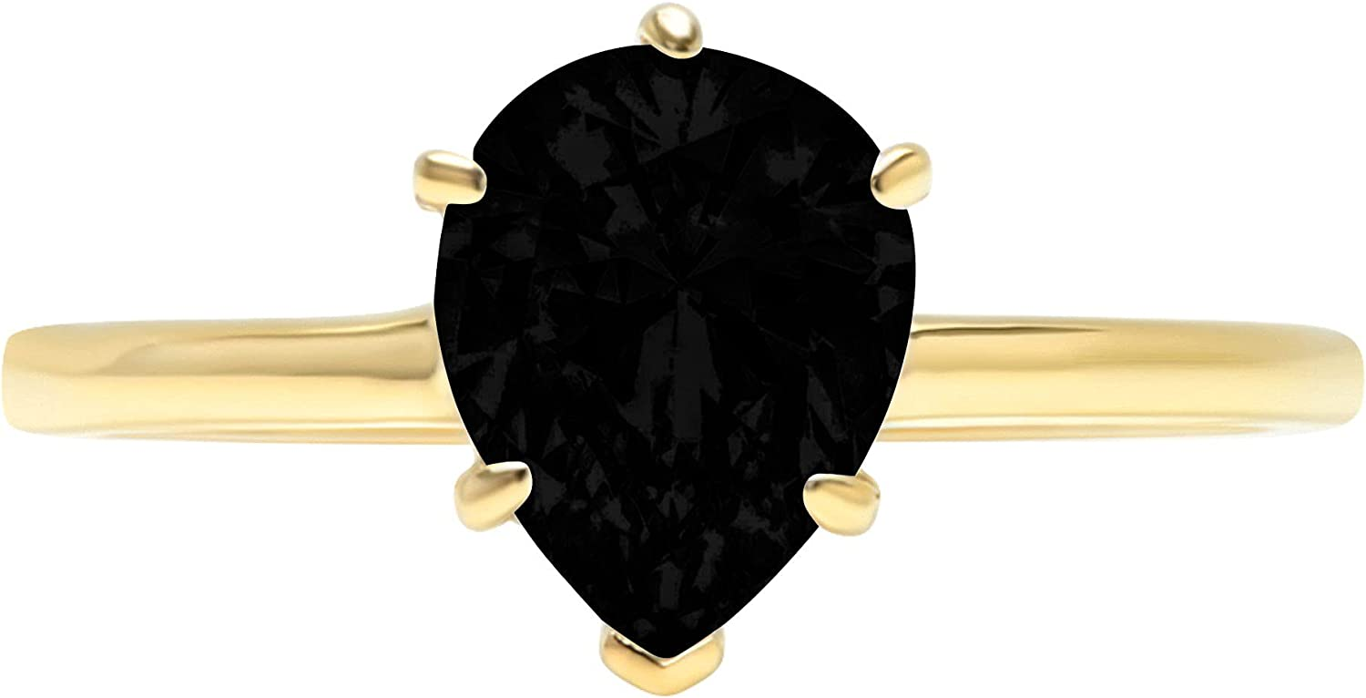 Clara Pucci 1.0 ct Brilliant Pear Cut Solitaire Natural Black Onyx Gem 6-Prong Engagement Wedding Bridal Promise Anniversary Ring Solid 18K Yellow Gold for Women