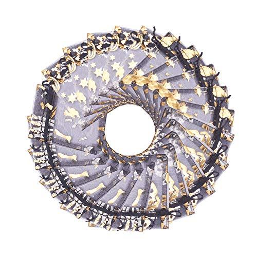 Stiesiy Organza-Geschenkbeutel, 11,4 x 8,3 cm, Totenkopf-Motiv, schwarze Katze, Kürbis-Kordelzug, Schmuck, Süßigkeiten-Beutel für Party, Halloween, Süßigkeiten, Geschenk, 40 Stück