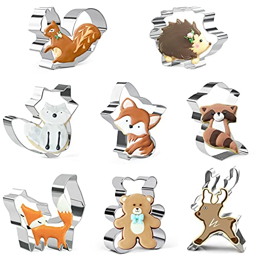 Ausstechformen für Kinder mit Tiermotiven, Fuchs, Eichhörnchen, Hirsch, Bär, Igel, Wald, Tiere, 8-teilig