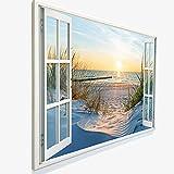 Leinwandbild mit Fensterblick - Druck auf Canvas Leinwand - moderner Kunstdruck - XXL Wandbild – Fenster mit Ausblick - Keilrahmen mit Druck (Dünen und Meer, 120 x 80 cm)