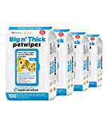 Petkin Petwipes, 400 Wipes – Big 'n Thick Extra Large Pet Wipes for Dogs and Cats – Cleans Face, Ears, Body and Eye Area – Super Convenient, Ideal for Home or Travel – 4 Packs of 100 Wipes