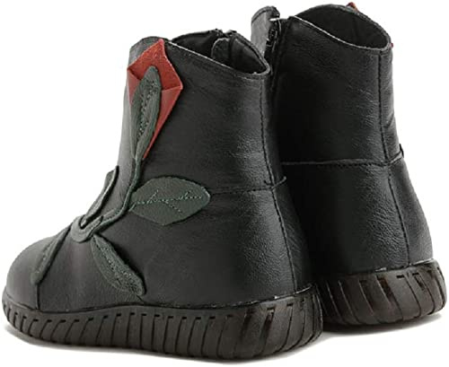 Fuxitoggo botas de patrón de mujer zapatos de Forro de Piel Suave Plano Vintage (Color   negro, tamaño   EU 36)