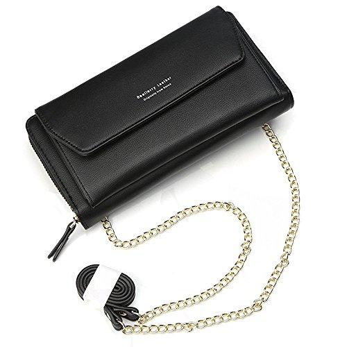 Geldbörse Damen Leder Brieftasche mit eingearbeiteter Kette, Lang Portmonee Clutch Handy Geldbeutel Reißverschluss, Multifunktion Portemonnaie Schutz Hülle für Samsung iPhone Huawei Telefon (Schwarz)