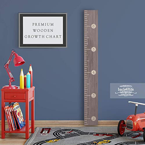 Wooden Kids Growth Chart Ruler for Boys and Girls (Distressed Typewriter) Back40Life (Ebony Wash)