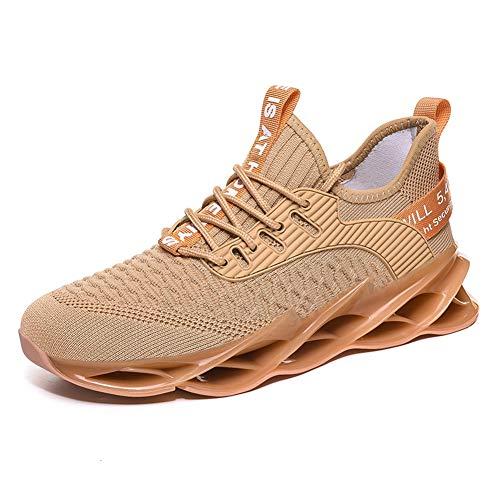 fashionable Sportschuhe, Laufschuhe, Atmungsaktiv, Leichte Turnschuhe, Gym Fitness Sneaker für Herren Damen G111 Golden 40EU