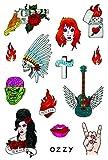 Tatsy Rock N Rolla Set, Tatuajes Temporales de Calidad, Para