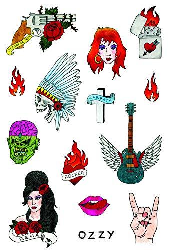 Hochwertige temporäre Tattoos von Tatsy, Rock N Rolla Set, Für Männer und Frauen, Rock \'n\' Roll Tattoos, Verkleidung, Rockstar Party Kit, Gitarre, Black Sabbath, Rocker, Ozzy, Reha, Freiheit