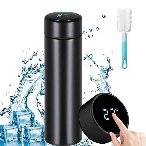 Botella de Agua Inteligente, Sebami 500ML Taza de termo Pantalla LCD Táctil Inteligente con Temperatura perfecta para correr, oficina, casa, gimnasio, yoga, camping al aire libre...