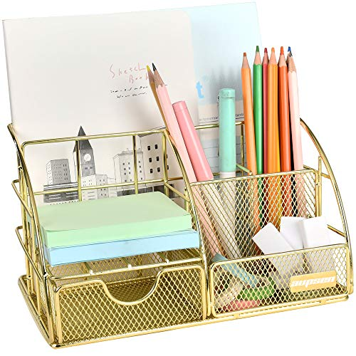 Gold Desk Organizer, AUPSEN Mesh Office Supplies Desk Accessories, Features 5 Compartments + 1 Mini Sliding Drawer