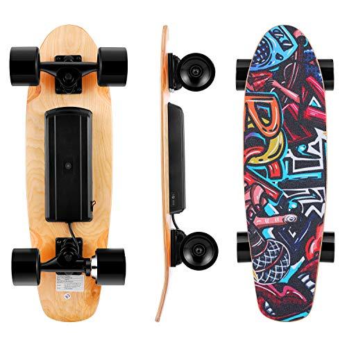 Kulzer Skateboard Elettrico con Telecomando, velocità Massima 20 KM/H, Motore 350 W, Skateboard in Acero a 7 Strati, Regolazione a 3 velocità, 25,4 '' Skateboard per Bambini/Adolescenti/Adulti