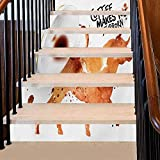 Stair Sticker Dirty Look with Stubborn Animal Bull Figure and Espresso Splashes Stair Treads Decals Great for Switching Up During The Seasons Burnt Sienna Black White 39 x 7 Inch, 6 PCS