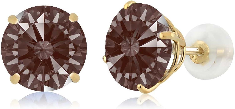 Carlo white Fancy Brown 14K Yellow gold Earrings Made With Swarovski Zirconia