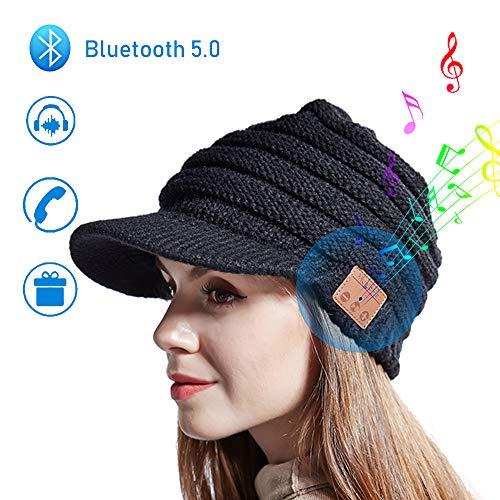Kabelloser Bluetooth-Musik Hut Bluetooth Beanie Winter Strickmütze mit Eingebauter Wireless Kopfhörer Hand Frei Musik hören und telefonieren Unisex Hut für Skateboardfahren Wanderung Reise