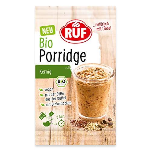 RUF Bio Porridge kernig • Oatmeal ohne Zucker vegan mit Vollkorn Haferflocken, 10er Pack (10 x 60 g)