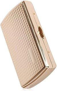 LONGWDS Caja de cigarro Caso de Cigarrillos, 12 Barras de Cobre Puro Titular de Cigarrillos (Color: Negro)
