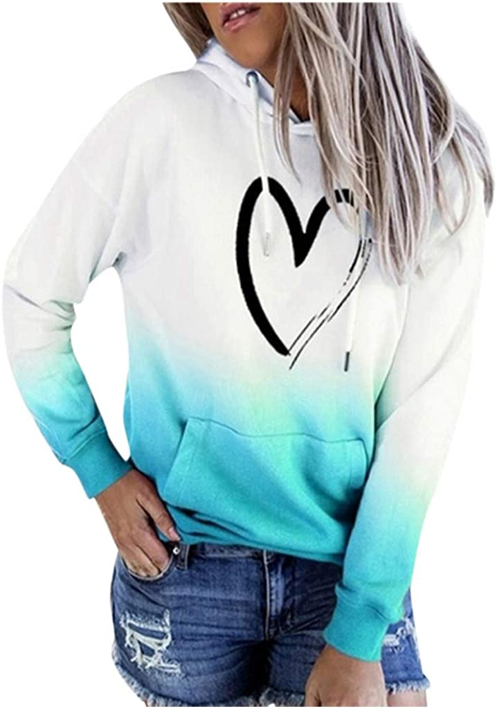 Hamleo Womens Heart Pattern Hoodie Sweatshirt Tie Dye Hoodie Pullover Tops,Fashion Oversides Blosues for Teen Girls
