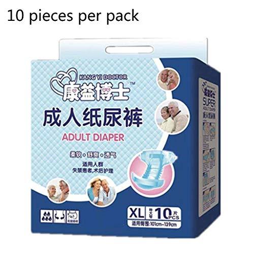 Einweg-Windeln für Erwachsene, stark, saugfähig, atmungsaktiv, dehnbarer Bund, Inkontinenzunterwäsche, für ältere Menschen, 10 Stück