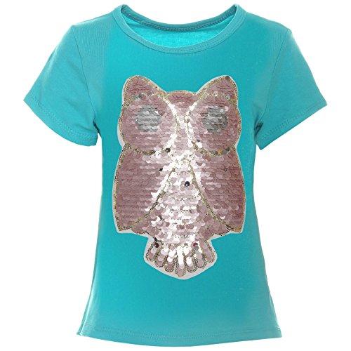 BEZLIT Kinder Mädchen Wende-Pailletten T-Shirt Bluse Kurzarm Sweat Shirt 21256 Türkis Größe 152