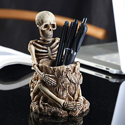 Arola Skull Pen Holder Skeleton Key Holder Makeup Brush Holder Home Office Desk Supplies Organizer Accessory