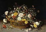 AMANUO Jan Brueghel el Joven Impresiones Pinturas Famosas sobre Lienzo Naturaleza Muerta 60X40 cm Cuadros Enrollada - Cesta Flores 1620