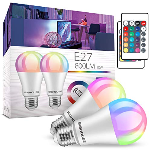 LED Glühbirne E27 Farbwechsel, ersetzt 60W, 800 Lumen, 10W RGB Glühbirne mit Fernbedienung Farbwechsel Farbige Birne warmweiß (3000 Kelvin), Edison E27 (2 Stück)