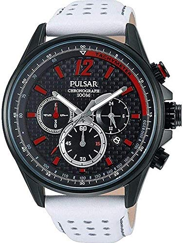 Pulsar Men's PT3545 Chronograph Sport Watch Quartz White Band Red Accents