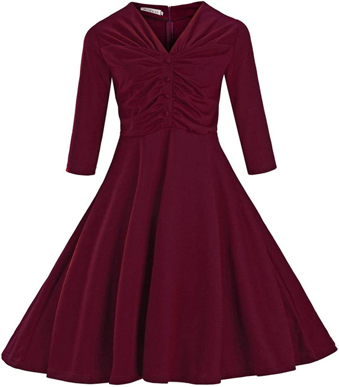 Kirabon Women's VNeck 3 4 Sleeve Ruffle Swing Dress 1950s Dress (color   Red, Size   XL)