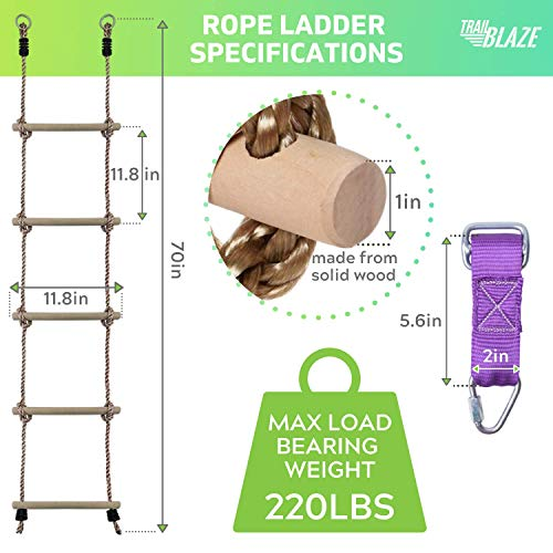Premium Climbing Rope Ladder for Kids 6ft - Buckle Straps Connect Ladder to Ninja Warrior Obstacle Course for Kids | Playground Swingset Accessories Outdoor Play Equipment for Kids