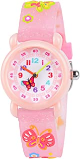 Venhoo Kids Watches Cute 3D Cartoon Waterproof Silicone Children Toddler Wrist Watch for 3-10 Year Boys Girls Little Child-Pink Bling Butterfly