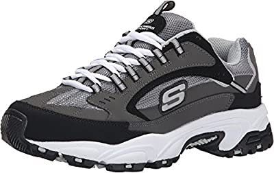 Skechers Sport Men's Stamina Nuovo Cutback Lace-Up Sneaker,Charcoal/Black,11 M US